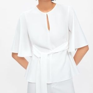 New ZARA White Flowy Top With Bow Ruffled Blouse